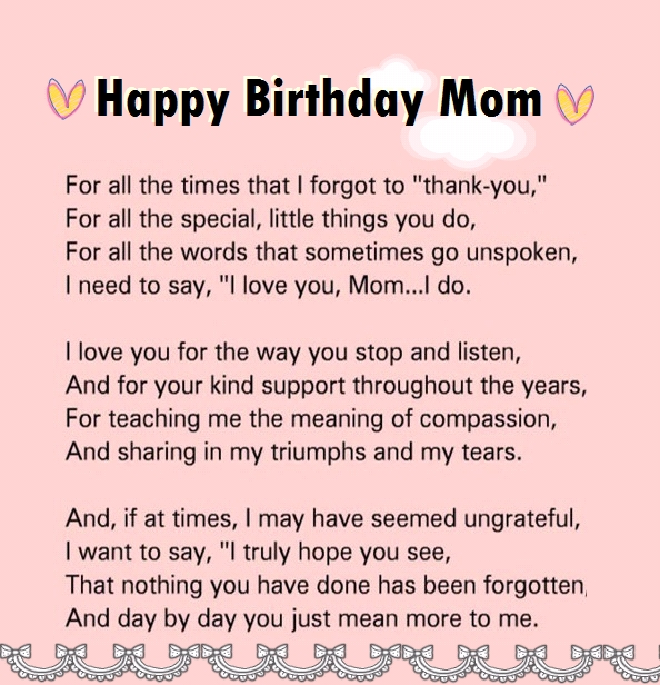 Happy Birthday Greetings Quotes To Mom Poem From Son Images